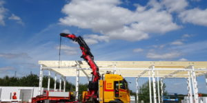 Den nye brandstation i Hadsten tager form.
