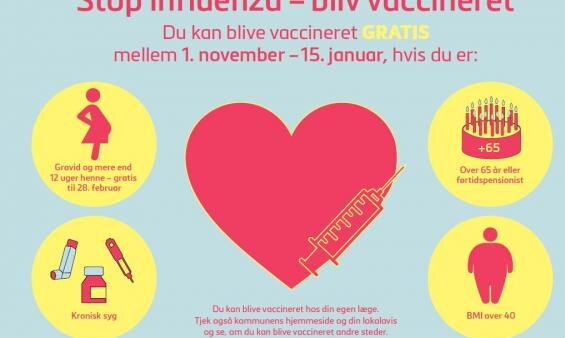 Gratis influenza-vaccine til alle over 65 år