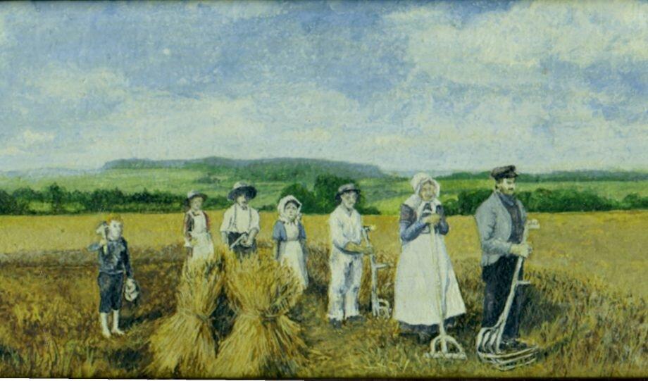 Maleri af høstbillede fra Vivild i 1906