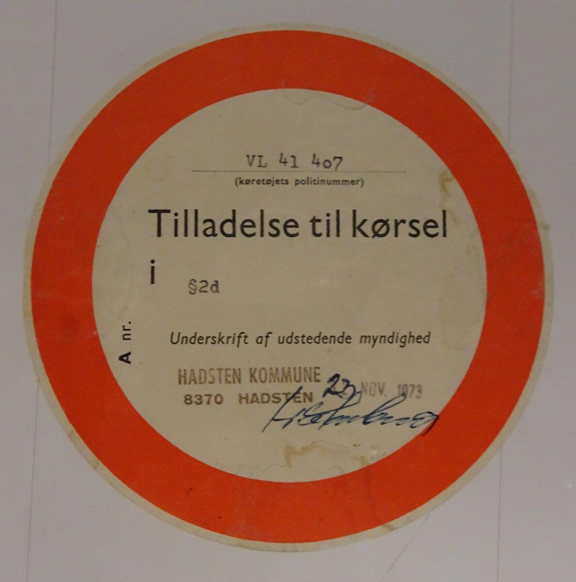 En køretilladelse fra 1973