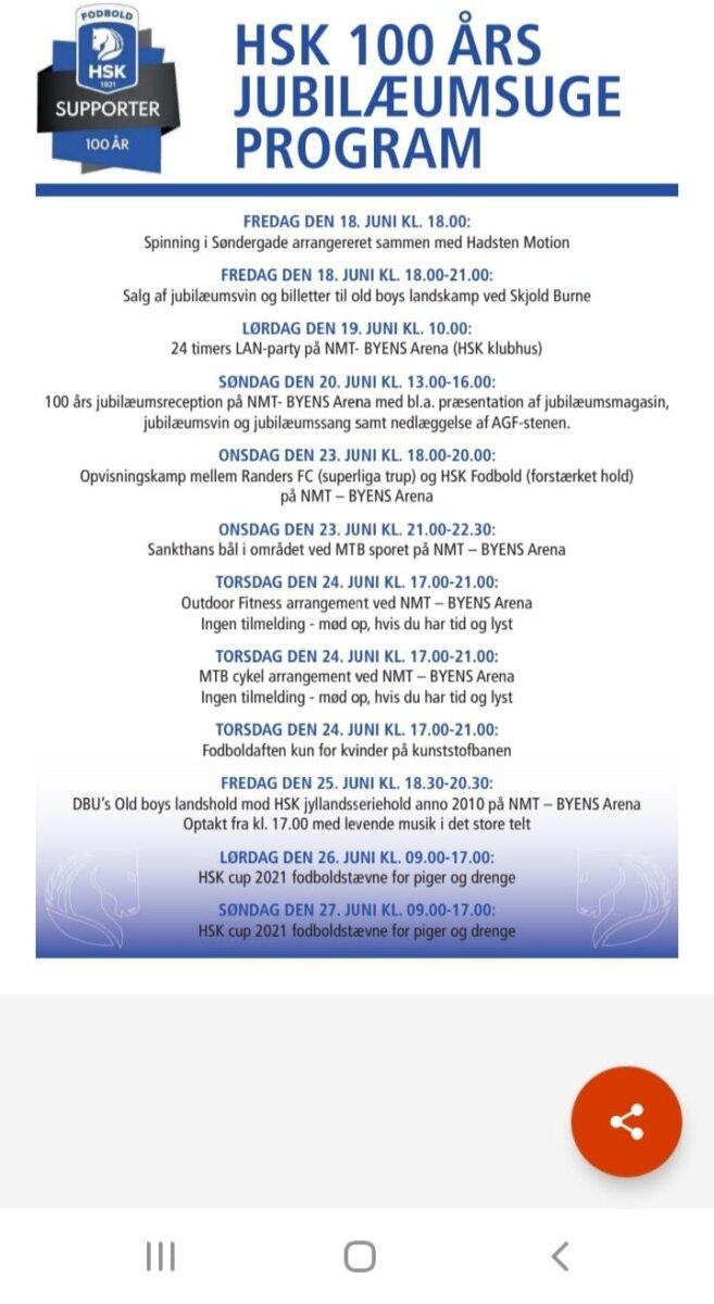 HSK 100 års jubilæumsuge Program