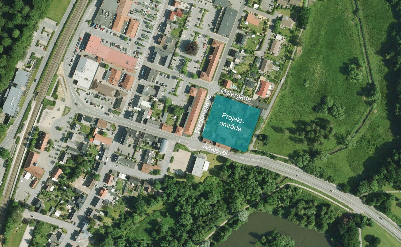 Nyt etagebyggeri i Hinnerup med parkeringskælder, grønt gårdrum og fælleshus